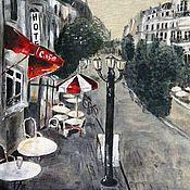 """Одежда ручной работы. Ярмарка Мастеров - ручная работа Футболка: """"Парижское кафе"""". Handmade."""