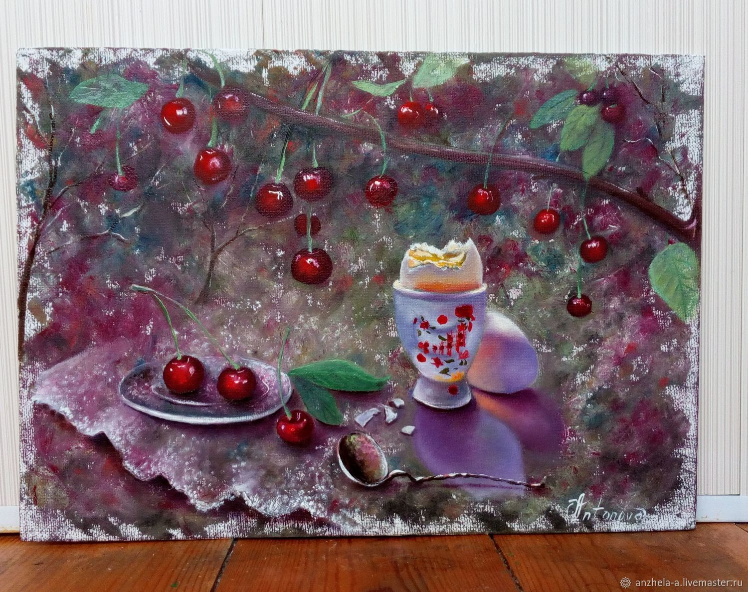 'Breakfast in the garden ' Picture with cherries, Pictures, Moscow,  Фото №1