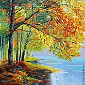 Картины ручной работы. Ярмарка Мастеров - ручная работа Картина маслом Осень осенний пейзаж река. Handmade.