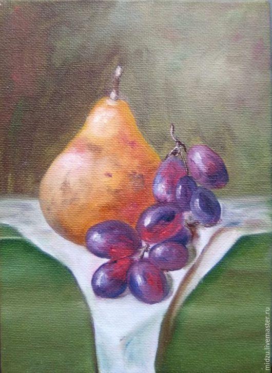 Натюрморт ручной работы. Ярмарка Мастеров - ручная работа. Купить Натюрморт с грушей и виноградом. Handmade. Комбинированный, виноград, желтый фрукт