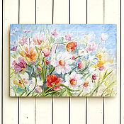 """Картины и панно ручной работы. Ярмарка Мастеров - ручная работа Картина """"Полевые цветы"""" масло, холст, оргалит 20х30 см. Handmade."""