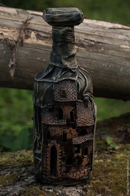 Персональные подарки ручной работы. Ярмарка Мастеров - ручная работа. Купить Бутылка в подарок. Handmade. Подарок мужчине, сувенир, кожа
