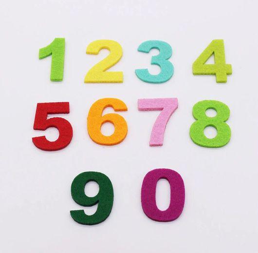 Аппликации, вставки, отделка ручной работы. Ярмарка Мастеров - ручная работа. Купить цифры из фетра для развивающих книжек. Handmade. Цифры