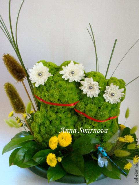 Цветы ручной работы. Ярмарка Мастеров - ручная работа. Купить Лягушата из цветов. Handmade. Тёмно-зелёный, оригинальный подарок