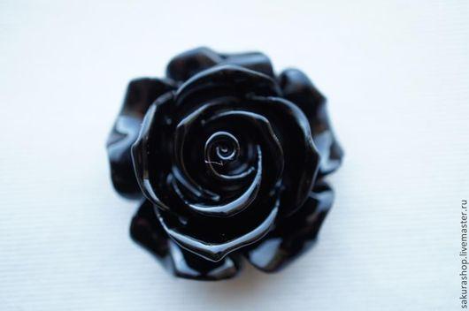 Для украшений ручной работы. Ярмарка Мастеров - ручная работа. Купить Роза из коралла черная  бусина-подвеска 35 мм. Handmade.