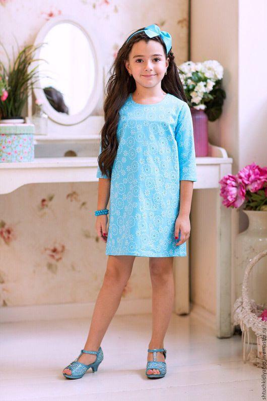 Одежда для девочек, ручной работы. Ярмарка Мастеров - ручная работа. Купить Джинсовое платье со стразами. Handmade. Голубой