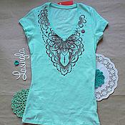 Одежда ручной работы. Ярмарка Мастеров - ручная работа Мятная футболка в стиле мехенди/восток. Handmade.