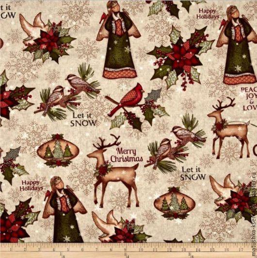 """Шитье ручной работы. Ярмарка Мастеров - ручная работа. Купить Новогодняя ткань """"Северное рождество"""" для тильды, пэчворка. Handmade."""