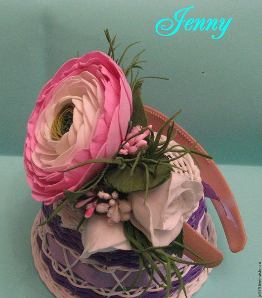 Комплекты аксессуаров ручной работы. Ярмарка Мастеров - ручная работа. Купить ободок с цветами из фоамирана. Handmade. Розовый, розы из фоамирана