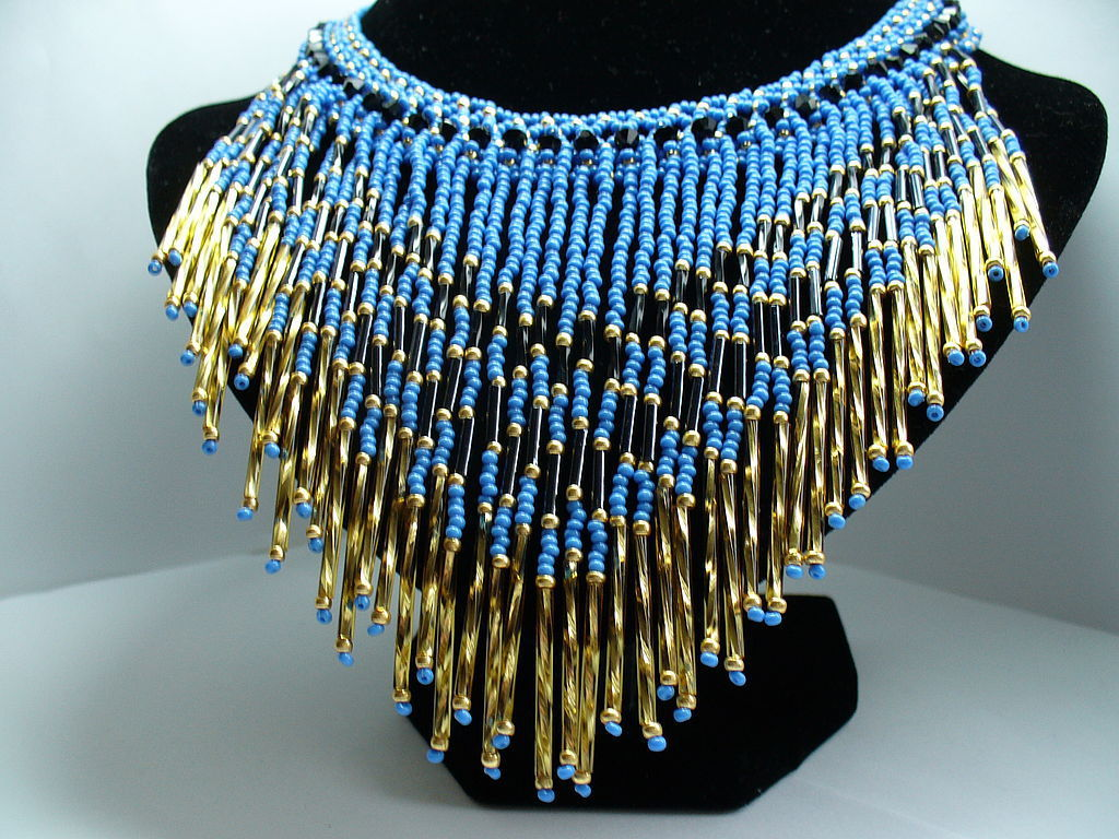 NUBIA beaded fringe necklace in blue and red, Jewelry Sets, Moscow,  Фото №1