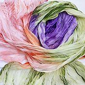 Аксессуары ручной работы. Ярмарка Мастеров - ручная работа Вальс цветов шарф шелковый шифоновый батик шибори зеленый оранжевый. Handmade.