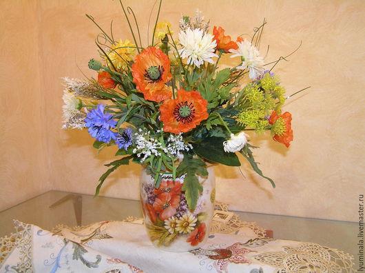 """Интерьерные композиции ручной работы. Ярмарка Мастеров - ручная работа. Купить """"Полевые цветы"""". Handmade. Разноцветный, композиция для интерьера, ромашки"""