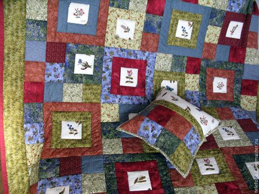 Текстиль, ковры ручной работы. Ярмарка Мастеров - ручная работа. Купить Лоскутное покрывало Ботаника. Handmade. Ботаника, плед