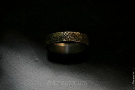 Свадебные украшения ручной работы. Ярмарка Мастеров - ручная работа. Купить Кольцо с песочной текстурой и каплями золотого припоя. Handmade.