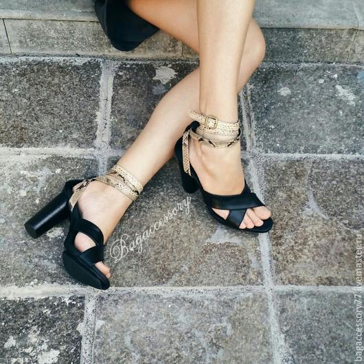 Обувь ручной работы. Ярмарка Мастеров - ручная работа. Купить Босоножки из натуральной кожи и кожи питона. Handmade. Разноцветный