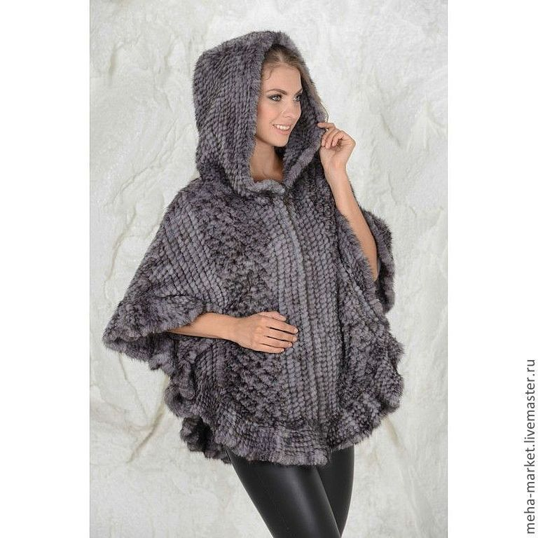 Knitted mink poncho ' London style', Ponchos, Moscow,  Фото №1