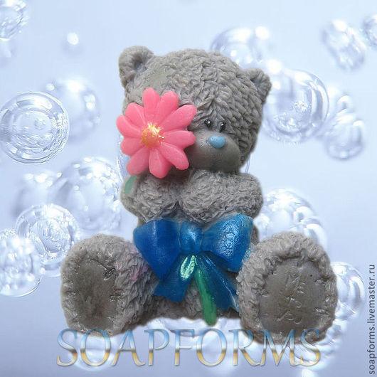 """Форма силиконовая для мыла """"Мишка Тедди с цветком большой"""""""