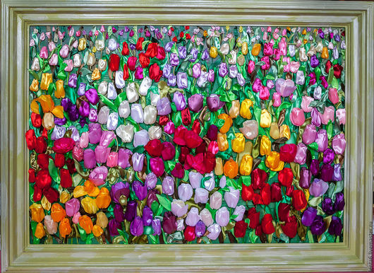 Картина Тюльпаны из атласных лент   от Марии Людвиг