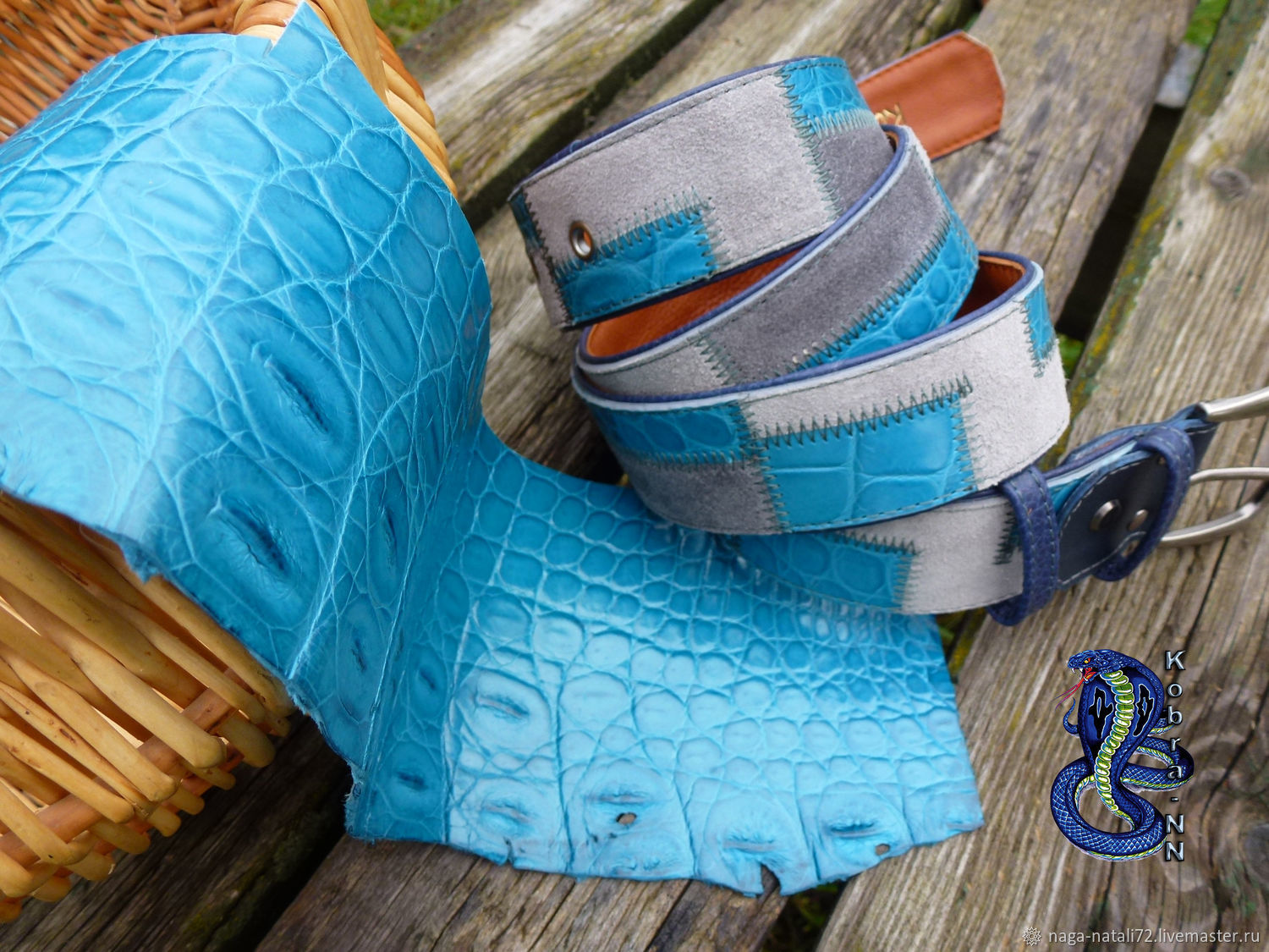 Belt made of suede with blue crocodile 'the New Exotica 3', Straps, Moscow,  Фото №1