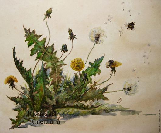 Картины цветов ручной работы. Ярмарка Мастеров - ручная работа. Купить Одуванчик полевой. Handmade. Лимонный, настроение, акварель