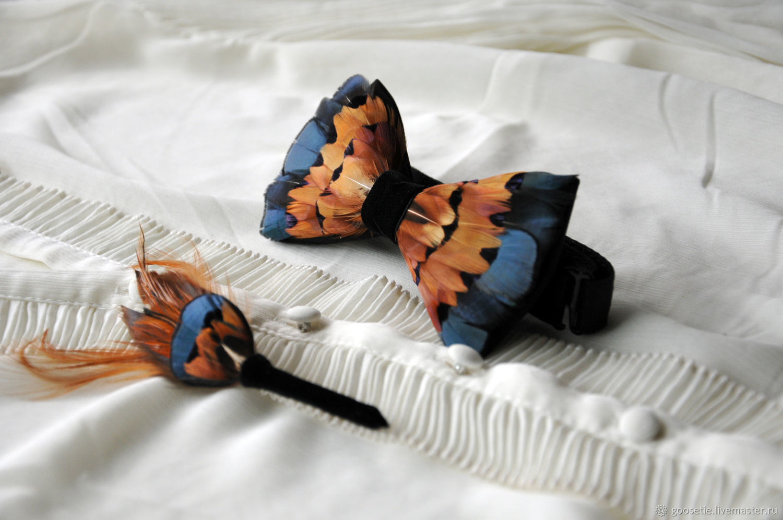 Комплект галстук-бабочка и бутоньерка с перьями фазана, Галстуки, Сочи,  Фото №1