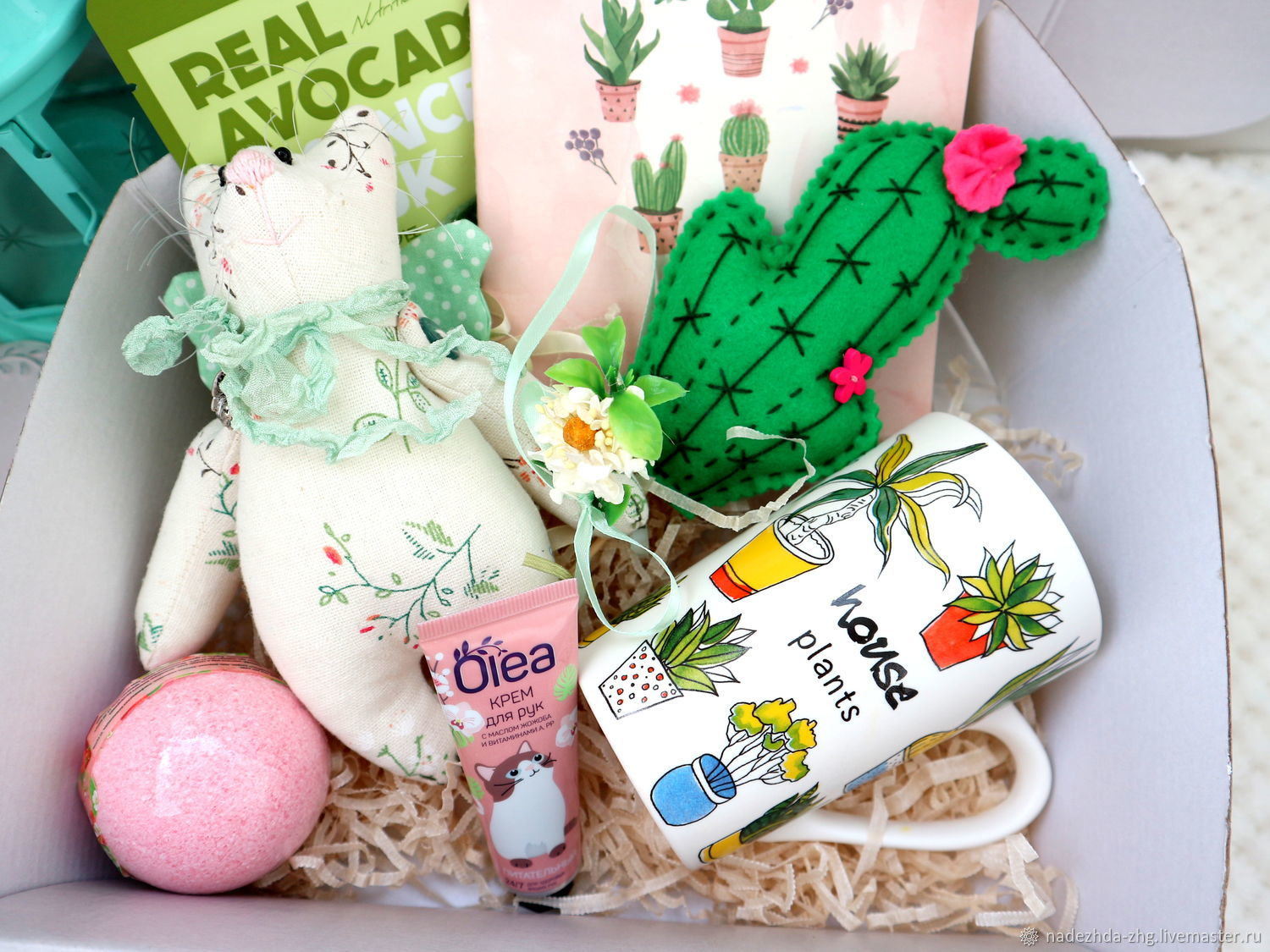 Gift box Cacti with cat made of flax, gift linen wedding, Gift Boxes, Ekaterinburg,  Фото №1
