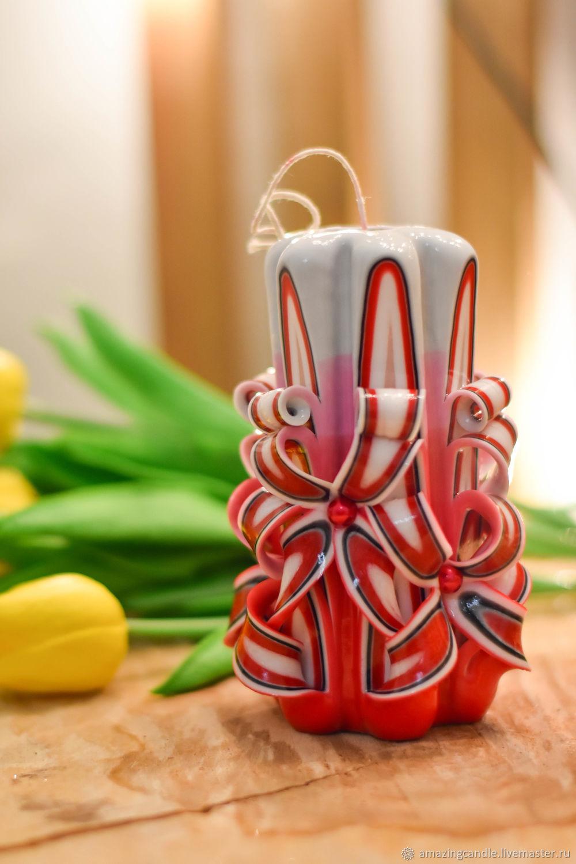 Резная свеча красная, Резная свеча подарок, Резная свеча цветок, Свечи, Кашира,  Фото №1