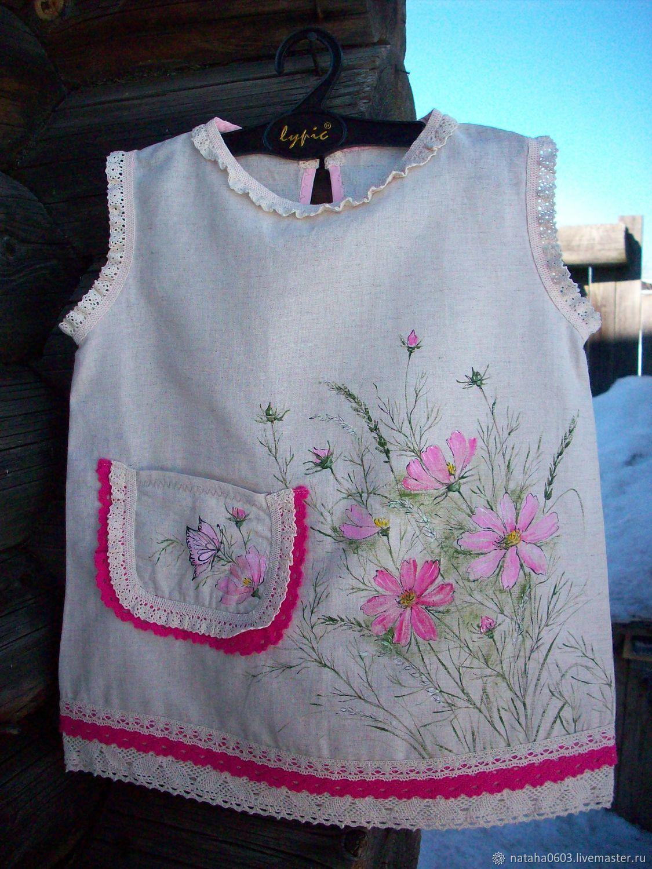 Детский льняной сарафанчик с росписью Нежная Космея