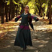 Субкультуры handmade. Livemaster - original item Elven Dress Long Fantasy Linen Sea Color Hooded Elvish Dress. Handmade.