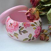 """Украшения ручной работы. Ярмарка Мастеров - ручная работа Широкий браслет  """"Розовый ветер"""". Handmade."""