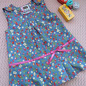 """Платья ручной работы. Ярмарка Мастеров - ручная работа Сарафан джинсовый для девочки """"Цветочки и ягодки"""". Handmade."""