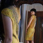 """Одежда ручной работы. Ярмарка Мастеров - ручная работа Авторское двухстороннее войлочное платье """" Янтарное"""". Handmade."""