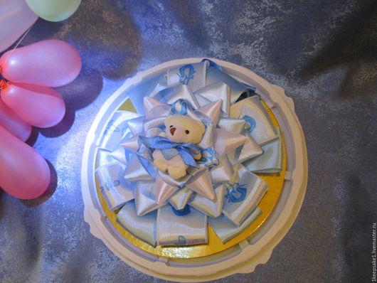 """Для новорожденных, ручной работы. Ярмарка Мастеров - ручная работа. Купить Бант на выписку """" Мишка для мальчика"""". Handmade. Голубой"""