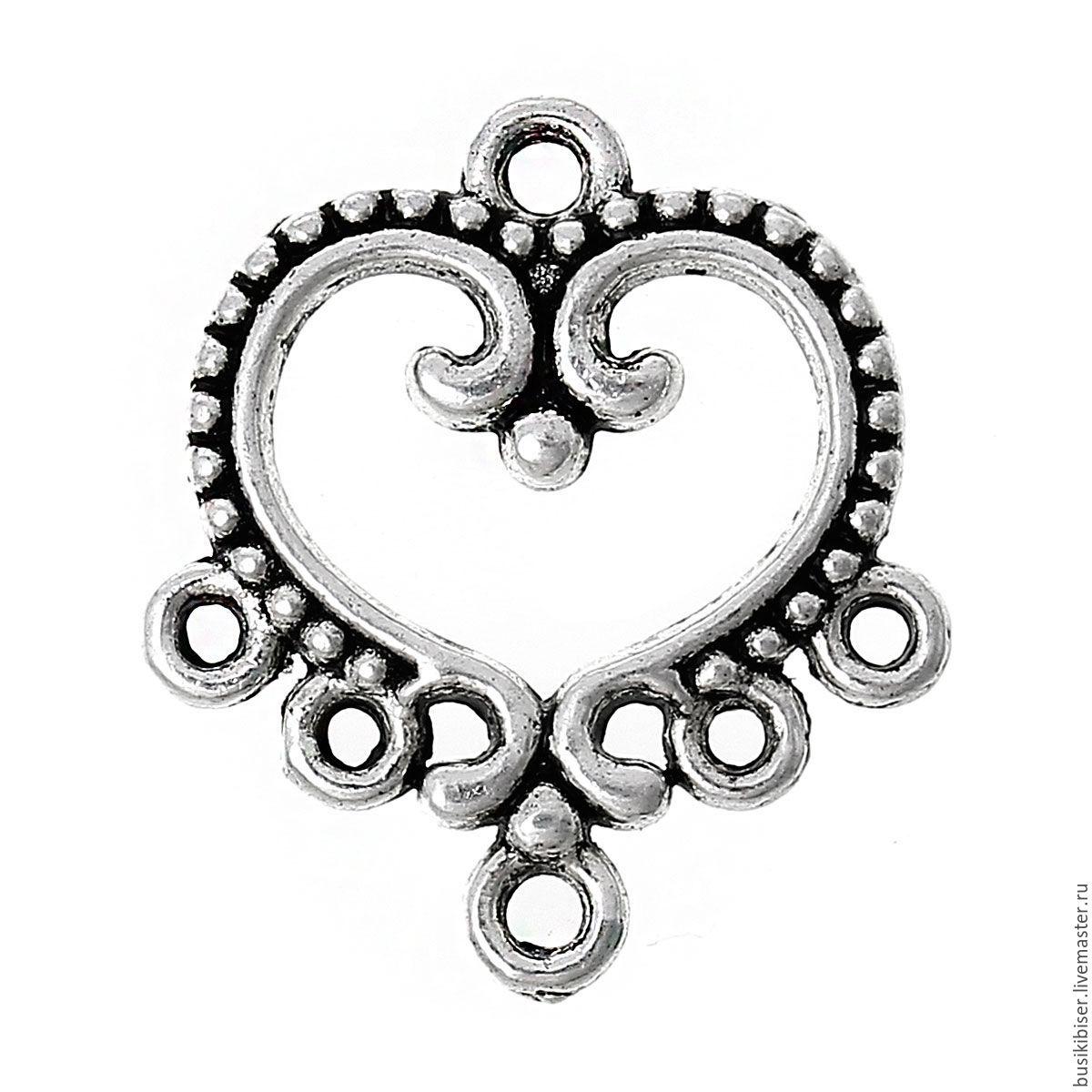 "Коннектор ""Сердце"" - античное серебро, 19мм x 21мм, Фурнитура, Челябинск, Фото №1"