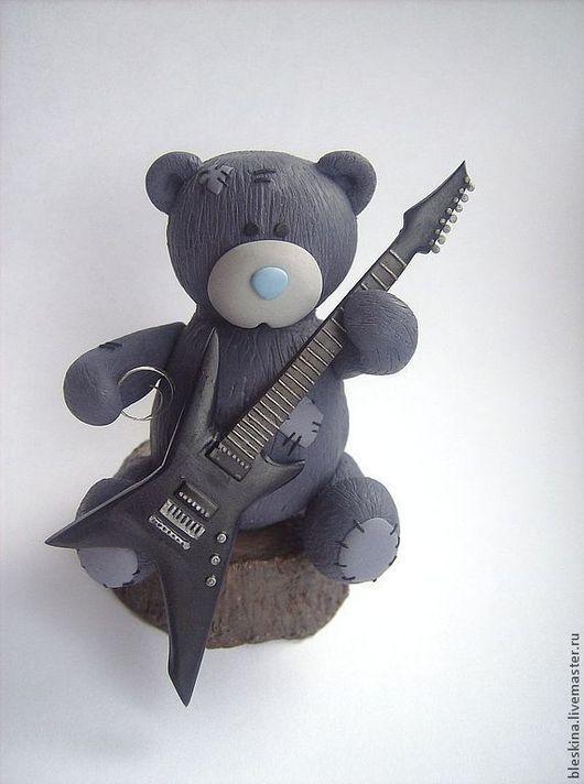 Статуэтки ручной работы. Ярмарка Мастеров - ручная работа. Купить Тедди с гитарой. Handmade. Серый, мишка с гитарой, фигурка тедди