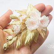 Украшения handmade. Livemaster - original item Sakura brooch silk. fabric flowers. Boutonniere sprig of Sakura. Handmade.