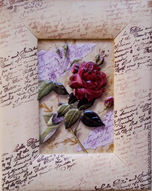 """Картины цветов ручной работы. Ярмарка Мастеров - ручная работа. Купить """"Роза и письмена"""". Handmade. Разноцветный, подарок мужчине"""