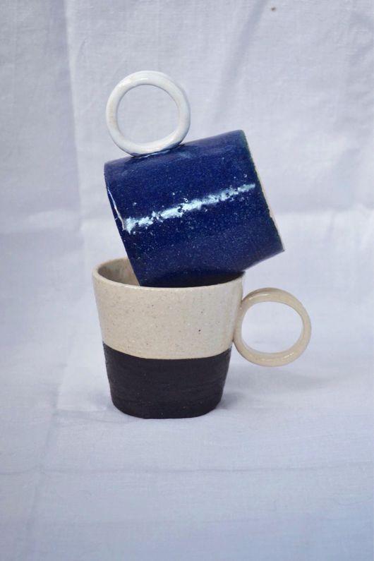 Кружки и чашки ручной работы. Ярмарка Мастеров - ручная работа. Купить Чашка Геометрия. Handmade. Керамика, геометрия, синий, дизайн