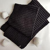 Аксессуары handmade. Livemaster - original item Scarf long black knitted warm. Handmade.