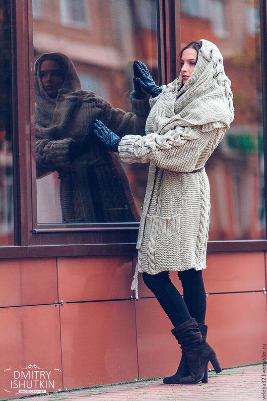 """Верхняя одежда ручной работы. Ярмарка Мастеров - ручная работа. Купить Пальто """"Дарья"""". Handmade. Бежевый, вязаное пальто купить"""