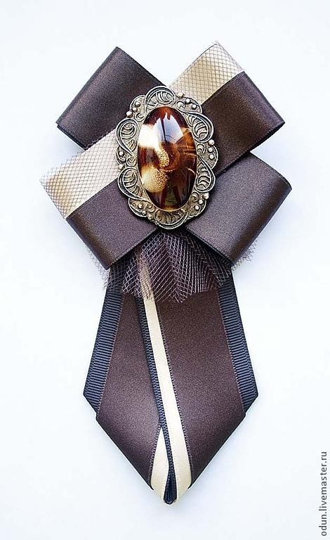 Броши ручной работы. Ярмарка Мастеров - ручная работа. Купить Брошь - галстук. Handmade. Коричневый, бежевый, галстук женский