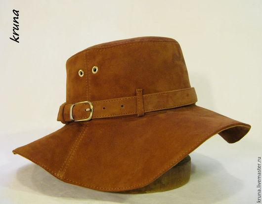 Шляпы ручной работы. Ярмарка Мастеров - ручная работа. Купить Шляпа женская из натуральной замши.. Handmade. Коричневый, Замшевая шляпа