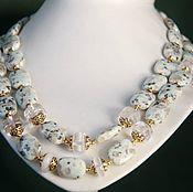 """Necklace handmade. Livemaster - original item Колье из яшмы """"Ника"""" - яшма киви, горный хрусталь.. Handmade."""