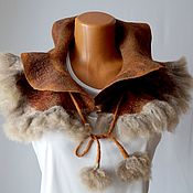 Аксессуары handmade. Livemaster - original item Boa felted Hot chocolate scarf wool Eco fur, Boa with ties. Handmade.