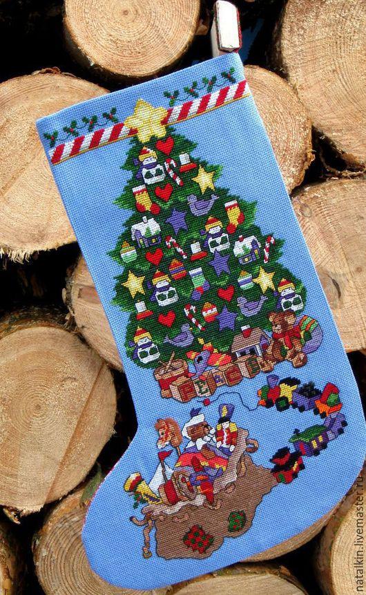 """Новый год 2017 ручной работы. Ярмарка Мастеров - ручная работа. Купить Новогодний носок """"Елочка"""". Handmade. Новогодний носок, канва"""