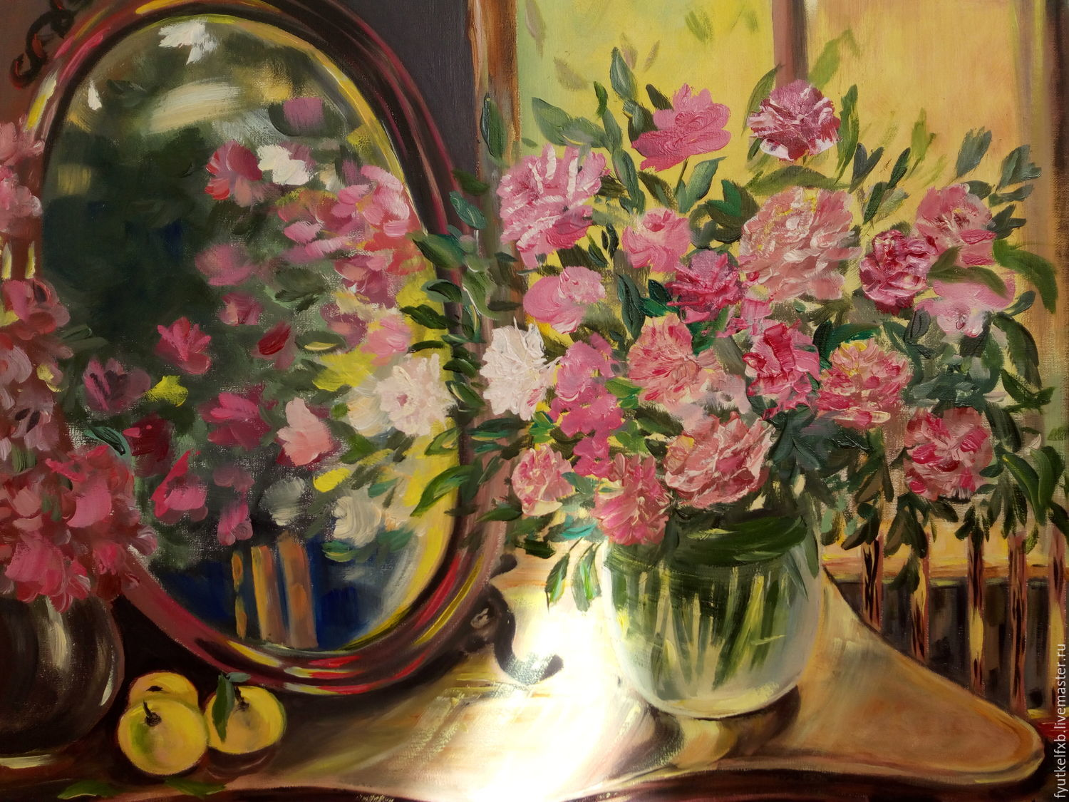 Painting with flowers ' Flowers in the mirror', Pictures, Moscow,  Фото №1
