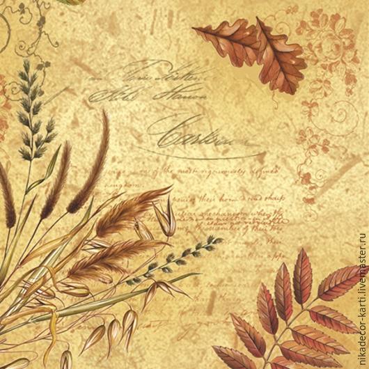 Декупаж и роспись ручной работы. Ярмарка Мастеров - ручная работа. Купить Листья на коричневом (SLOG014602) - салфетка для декупажа. Handmade. Разноцветный