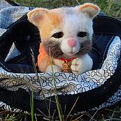 Кошечка, денежная кошечка на счастье, игрушка из шерсти