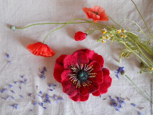 Броши ручной работы. Ярмарка Мастеров - ручная работа. Купить Брошь-цветок валяная. Handmade. Комбинированный, валяная брошь, этно