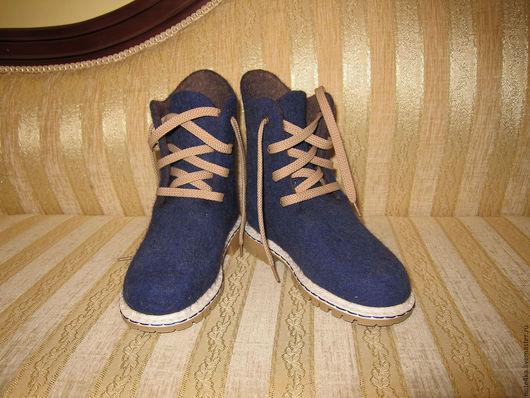 Детская обувь ручной работы. Ярмарка Мастеров - ручная работа. Купить Ботинки для мальчика валяные.. Handmade. Тёмно-синий